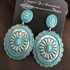 Silver Antiqued Concho Earrings